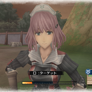 In-game screenshot of Clarissa in Valkyria Chronicles 3.