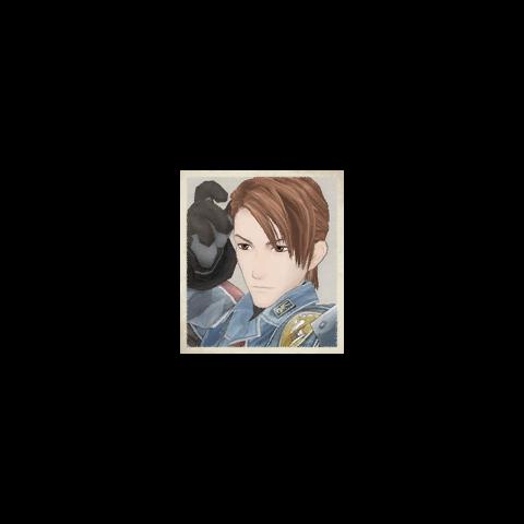 Salinas's portrait in <i>Valkyria Chronicles</i>.