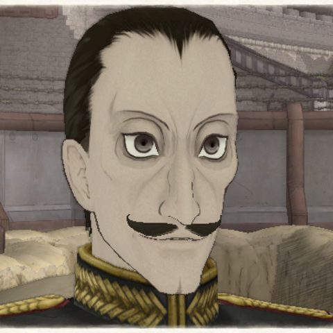 Giorgios Geld's appearance in <i>Valkyria Chronicles</i>.
