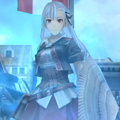 Riela's <i>Valkyria</i> stance in Valkyria Chronicles Duel.
