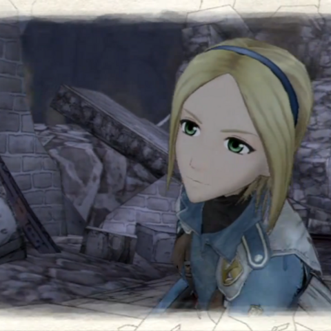 In-game screenshot of Fina, Mina, or Gina in <i>Valkyria Chronicles</i>.