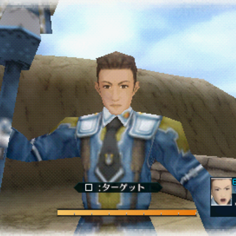 In-game screenshot of Jann in <i>Valkyria Chronicles 2</i>.