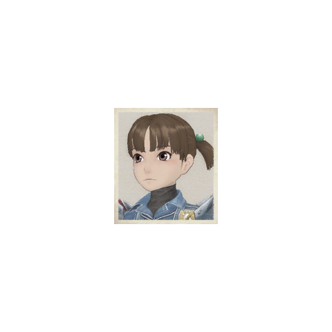 Aisha's portrait in Valkyria Chronicles.