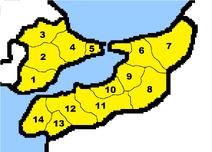 Saudistanin kartta osavaltiot numeroitu
