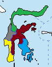 Varjonen kansandemokratia alueet värit