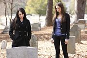 Elena and Isobel @ grave