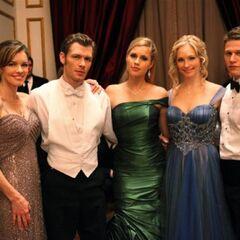 Mrs Lockwood, Klaus Mikaelson, Rebekah Mikaelson, Caroline Forbs and Matt Donovan