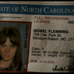 Isobel's license.