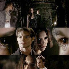 Katherine und Elijah in der Gruft.