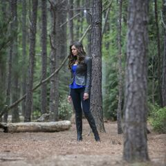 Katherine in the woods.
