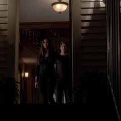 This is the entrance – you can see the staircase behind Elena and Jeremy