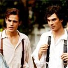 Stefan and Damon looking at Katherine