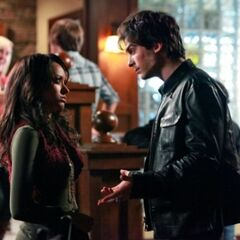 Damon talking to Bonnie at Mystic Grill.