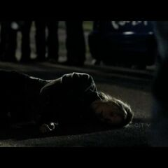 Caroline falls shortly after the car accident