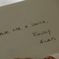 A note from Klaus at the back of Caroline's invitation