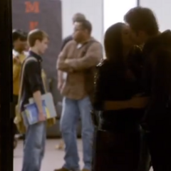 Elena and Stefan kissing at the Student Lounge in 1x16