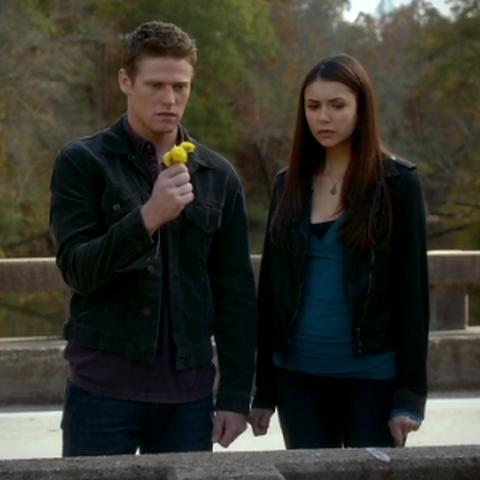 Elena und Matt nehmen auf der Wickery Bridge abschied von der alten Elena