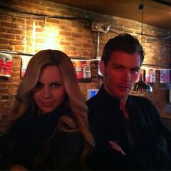 Claire and Joseph Morgan behind the scenes