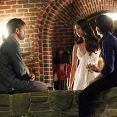 Alaric, Elena and Damon at Elena's party at the Salvatore Mansion