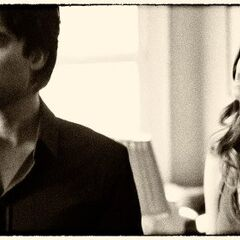 Season 4 BTS Damon and Meredith