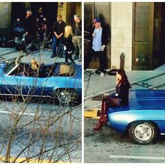 Nina as Katherine on set, Claire on set 4x18