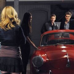 Stefan, Elena, Caroline and Matt in the garage.