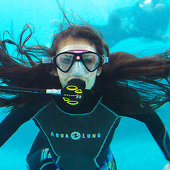 Nina, during the rehearsal of the underwater scene of