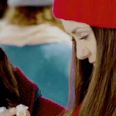 Bonnie and Elena during a Mystic Falls Christmas