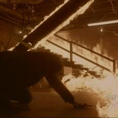 Damon trapped in fire