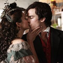 Katherine kissing Damon 1864.