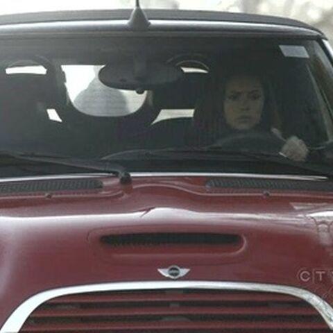 Elena driving Jenna's Mini Cooper