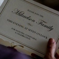 Elena opens her Mikaelsons' Ball invitation