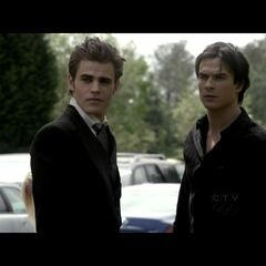 Damon and Stefan see Elena in her Founder's day dress