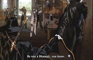Sheriff of Garucia with deputies confront D in Polk shop Vampire Hunter D - Bloodlust
