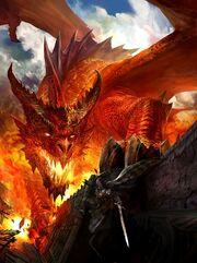 RED FIRE BREATHING FIRE DRAGON KNIGHT BATTLE CASTLE AGE HEART GAME CONCEPT ART 1 2 II BY KEKAI 3