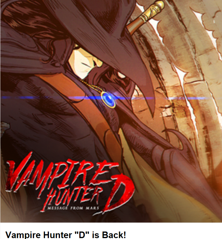 Vhd is back cover vampire hunter d