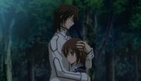 Kaname & Yuki embracing
