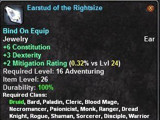 Earstud of the Rightsize