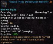 Pristine pyrite stonemason hammer
