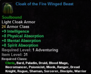Cloak of the Fire Winged Beast