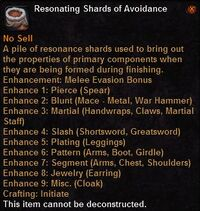 Resonating shards avoidance