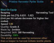 Pristine harvester pyrite sickle