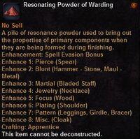 Resonating powder warding