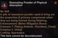 Resonating powder physical absorption