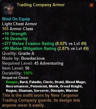Trading company armor tailor