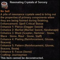 Resonating crystals sorcery
