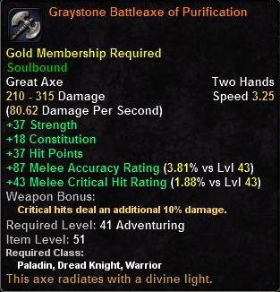 Graystone Battleaxe of Purification