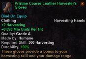 Pristine coarse leather harvester's gloves