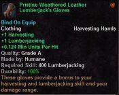 Pristine weathered leather lumberjack's gloves