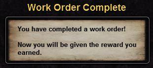 Hint workorder complete